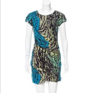 DVF Erosa Silk Ruched Animal Print Dress